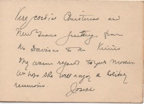 "The inside of the Christmas card.  It reads: ""Very cordial Christmas and New Years greeting from the Davises to the Keims.  My warm regards to your mother.  We hope she will enjoy the holiday reunions.  Josiah."""