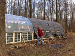Jeremy fastening the insulated tarps (what else do you do on New Years Eve?!)
