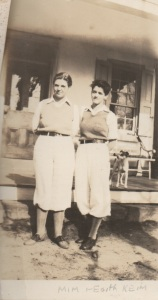 the Keim sisters, Miriam and Edith, by the back porch of the farmhouse.